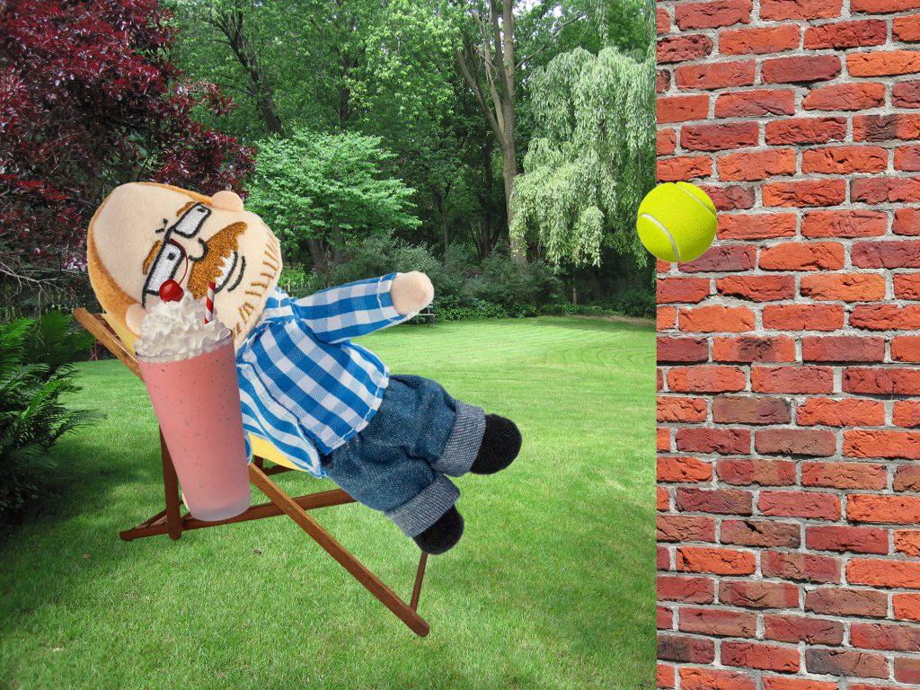 Johnny in Backyard with Milkshake Throwing Tennis Ball Brick Wall