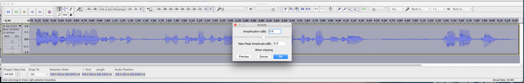 09 Bring Entire Clip Peak Amplitude to 2.0 dB